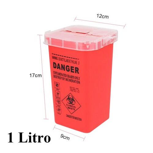 Pote de Plastico, para descarte de agulha, cor vermelho 1 L Ref.2065-RD