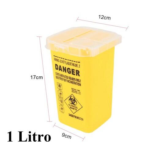 Pote de Plastico, para descarte de agulha, cor amarelo 1 L Ref.2065-YE