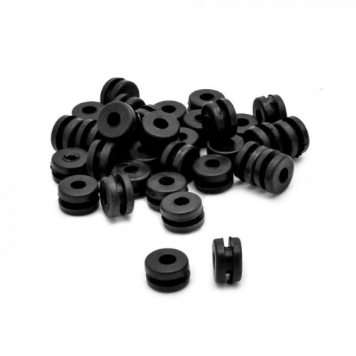 Gromets de borracha, cor preto, pacote com 100 unidades Ref.406-BLACK