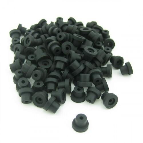 Gromets de borracha, cor preto, pacote com 100 unidades Ref.5075-PRETO